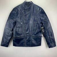 INC International Concepts Mens Faux-Leather Moto Jacket Jacket Blue S