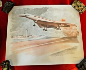 Objet de métier carte scolaire MDI 1970 Aéroport Avion Concorde Décollage