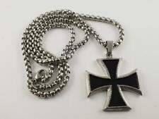 Stainless Steel Iron Cross biker pendant and necklace 60cm chain WW2 Nazi