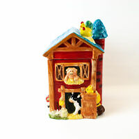 Barn Farm Animals Cookie Candy Jar Red Blue w/ Silo, Cow, Pig & Chicken CKA 12""