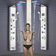 Brushed Nickel Shower Panel Tower LED Rain Waterfall W/Massage Body System Spray