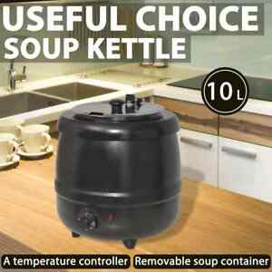 vidaXL Electric Soup Kettle 10L Home Restaurant Boiler Heat Food Warmer Cooker