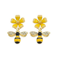 Cute Bee Flower Ear Stud Enamel Drop Earrings For Women Girl Fashion Jewelry