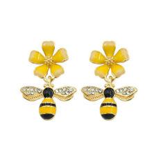 Cute Bee Flower Enamel Dangle Earrings For Women Girl Fashion Jewelry Accessory