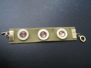 BRACELET - 1980 - GUERLAIN - Metal doré Cristal - L=16cm - #455