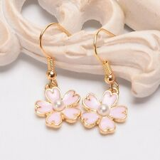 Fashion Girl's Sakura Floral Ear Hook Ear Clips Women Harajuku Lady Earrings