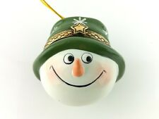 """Ceramic Cute Holiday Snowman Ornament Container with a Green Hat 2.5"""""""
