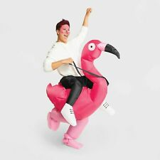 """Adult 80"""" Inflatable Pink Flamingo Rider Halloween Costume Mascot Parade Outfit"""