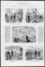 1881 antica stampa-Liverpool partenza CUNARD a vapore tender Saloon Crew (270)