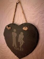 Slate Hanging Heart Shaped Toilet Signs