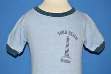 vintage 70s YORK BEACH MAINE LIGHTHOUSE RINGER BLUE RAYON t-shirt TODDLER 2T