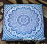 Blue Large Floor Cushion Pillow Cover Mandala Cotton Square Pet Dog Bed Cover