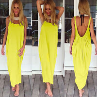 Plus Size Womens Boho Long Maxi Dress Beach Party Casual Summer Baggy Sundress