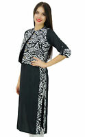 Bimba Women Black Straight Ladies Kurta With Printed Jacket Indian Kurti Tunic