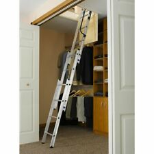 Attic Ladder Closet Kit Telescoping Aluminum Small Opening  7 to 10 ft New