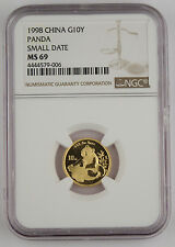1998 China 10 Yuan 1/10 Troy Oz 999 Gold Panda Coin NGC MS69 Small Date SD @KEY@