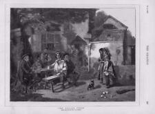 1876 - Antique Print FINE ART Village Tenor Barnes Singing Pub Dog Jug (138)
