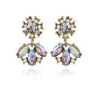 Elegant Women WhiteAB Flower Crystal Rhinestone Ear Stud Drop Earrings Jewelry