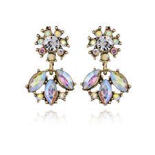 Elegant Women WhiteAB Flower Crystal Rhinestone Ear Stud Drop Earrings Jewelry