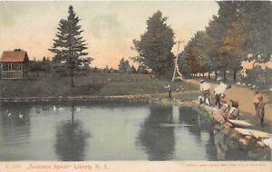 H71/ Liberty New York Postcard c1910 Summer Sport Fishing Pond 215