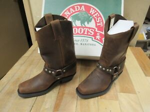 CBC - CANADA - BROWN CRAZY HORSE LEATHER MOTORCYCLE BOOTS - LADIES SIZE 6