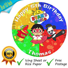RYANS WORLD CAKE TOPPER PERSONALISED EDIBLE ROUND BIRTHDAY CAKE TOPPER