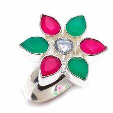 Ruby, Emerald, White Topaz Gemstone 925 Sterling Silver Ring Size 8