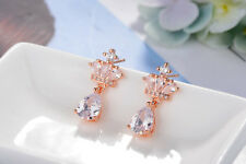 Ladies Noble Elegant 925 Sterling Silver Zircon Crown Stud Dangle Earrings