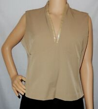 """OJAY"" - Great PreLoved - Size 16 - Light Brown/Caramel Sleeveless V Neck Top"