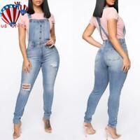 Plus Size Women Denim Dungaree Jumpsuit Ladies Overall Jeans Playsuit Outfit US