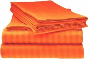 4 PCs Sheet Set 100% Pima Cotton Deep Pocket Flannel Orange Striped