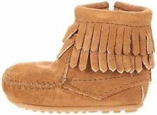 New Minnetonka Baby Double Fringe Side Zipper Taupe Suede Bootie Size US 2 M