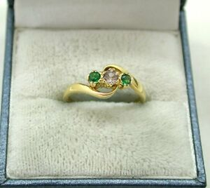 Lovely Quality 18ct Gold Pink Topaz And Emerald Three Stone Ring