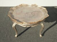 Vintage Italian French Scalloped Edge Silver Coffee Table Platter Made in Italy