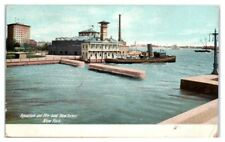 1907 Aquarium and Fire Boat New Yorker, New York City Postcard