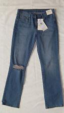 New Womens Calvin Klein Jeans Straight Distressed Blue Denim Jeans W30 L32 $89