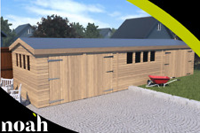 20x10 'New Texan Workshop' Heavy Duty Wooden Garden Shed/Workshop/Garage