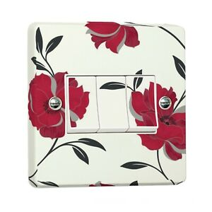 Red Floral Home Light Switch Sticker for Crabtree Triple 3-Gang FULLY WRAPPED