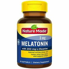 Nature Made Melatonin + L-Theanine 200mg Dietary Supplement, 60 Softgels,