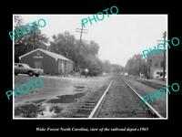 OLD POSTCARD SIZE PHOTO OF WAKE FOREST NORTH CAROLINA THE RAILROAD DEPOT c1965