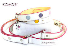 COACH XL White Leather Polka Dot Dog Collar w/ Snoopy Charm & Leash Set NEW