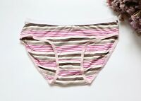 Women Sexy Briefs Cotton Striped Underwear Hi-Cuts Lingerie Panties Purple S-M-L