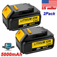 2X For Dewalt 20V Max XR DCB205-2 5.0Ah Li-Ion Battery DCB200-2 DCB206-2 DCB204