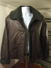 women's COLEBROOK & CO brown leather sherpa lined jacket size L