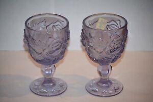 Madonna Inn Purple Wine Goblet Wild Rose Pattern Fenton LG Wright Set of 2