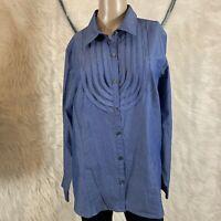 NWOT VAN HEUSEN DRESS BLOUSE PLUS Size XL blue button down V neck FIRNGES 4