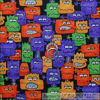 BonEful Fabric FQ Cotton Black Purple Orange Halloween Monster Face Rainbow RARE