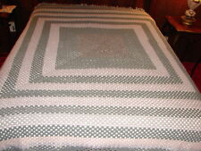 Handcrafted Crochet Afghan Throw Blanket ~  Granny Square Gray Color