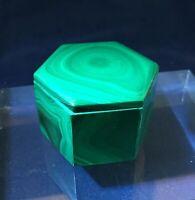 "Malachite Hexagonal Shaped Box Stone 1 5/8"" Gemstone Small Trinket Treasure"