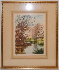 Paris Society Etching Print Landscape Mid Century Signed Martin Gold Wood Frame